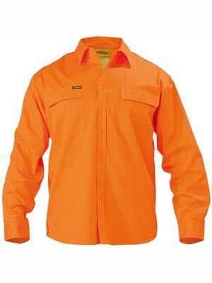 BISLEY HiVis Mens Drill LS Shirt