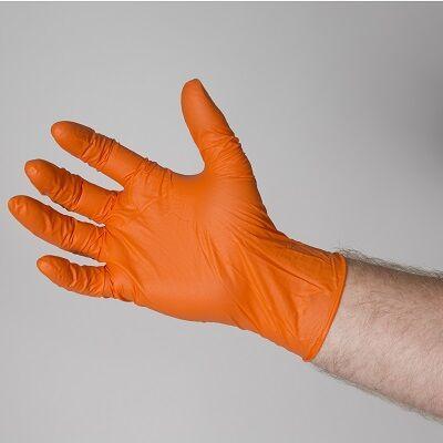 Bastion Orange Nitrile Disposable Gloves