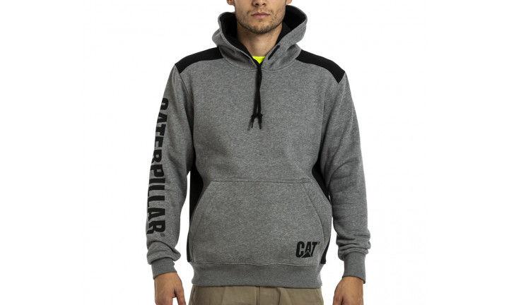 CAT Logo Panel Hoodie Grey
