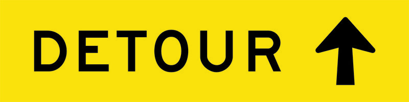 A yellow and black Detour Ahead Sign