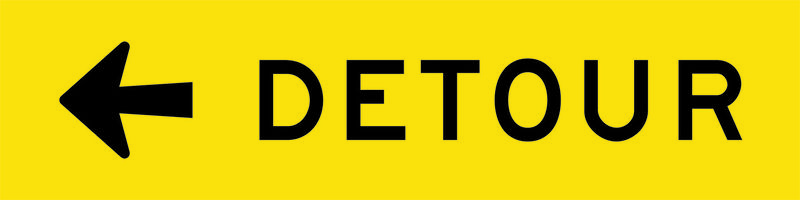 A yellow and black Detour Left Sign