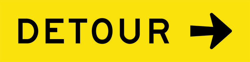 A yellow and black Detour Right Sign