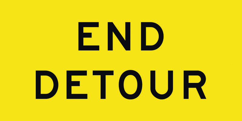 A yellow and black End Detour Sign
