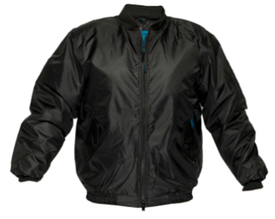 A water proof bomber jacket in black