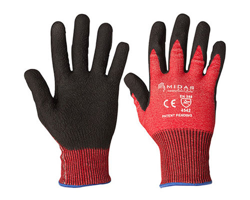 A pair of red and black Fortis Cut 5 Gloves