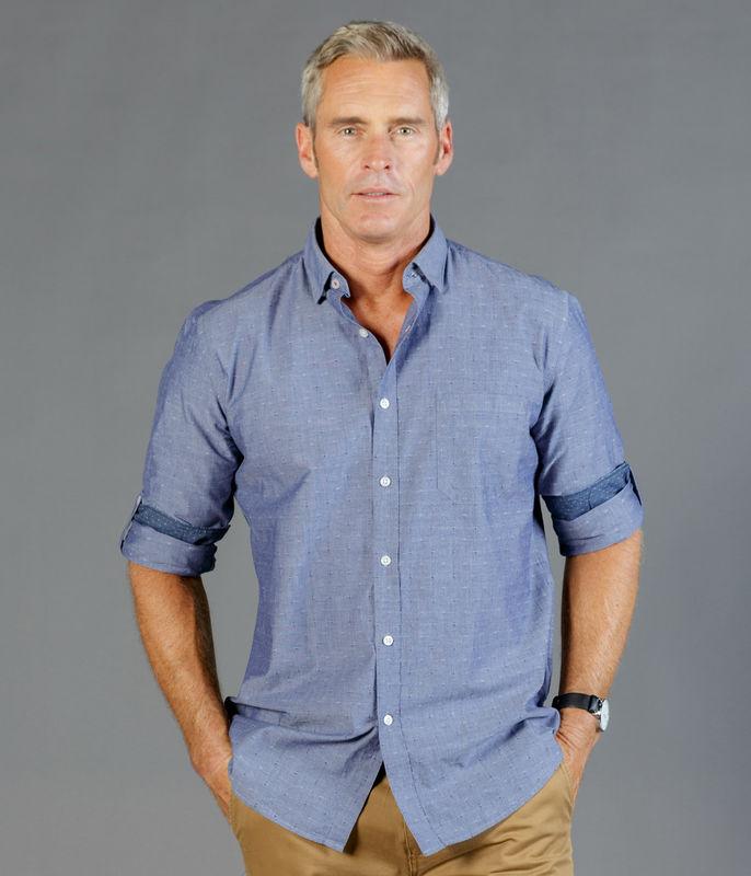 Gloweave Mens Chambray Dobby Casual Slim Fit Shirt
