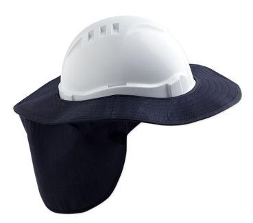 A white Hard Hat with a dark blue Sun Brim