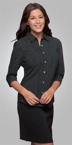 Ladies 34 Sleeve City Stretch Spot Shirt