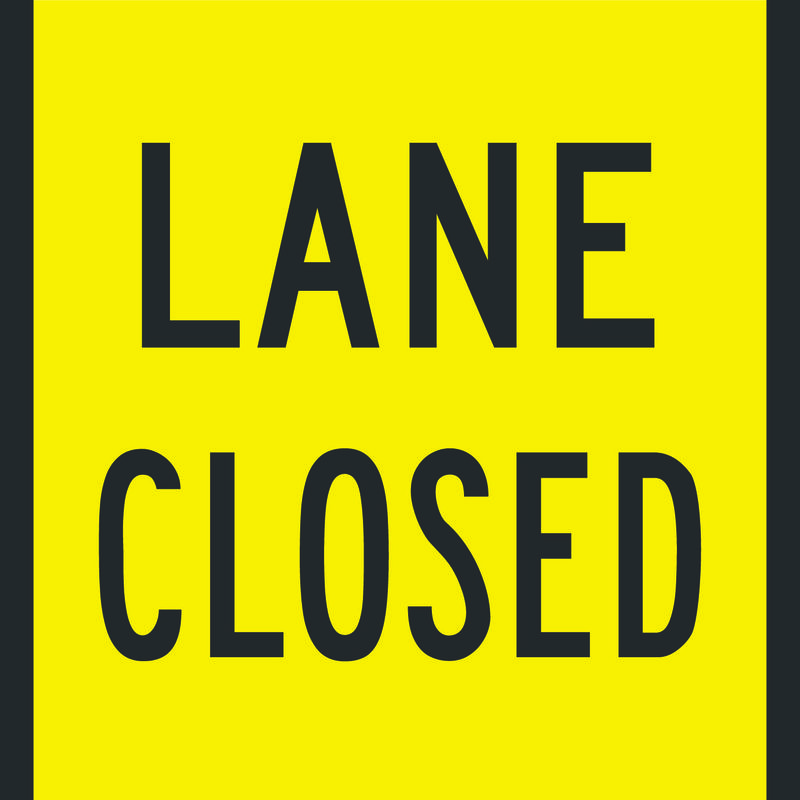 Black and Yellow Lane Closed Sign