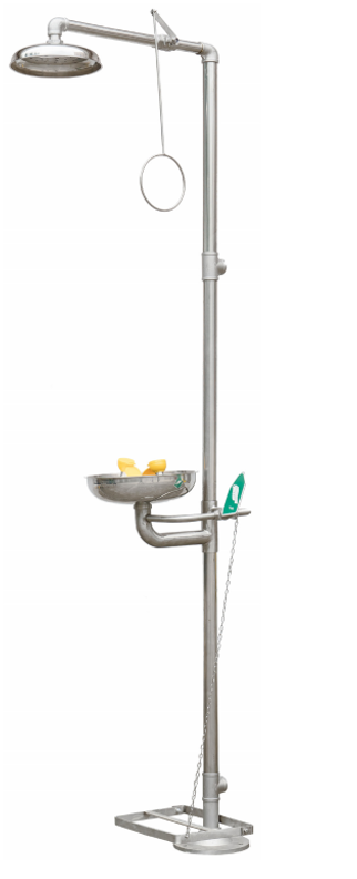 Maxisafe Stainless Steel Safety Shower and Eyewash  Floor Mounted