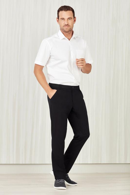 Mens Comfort Waist Flat Front Pant