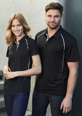 A woman and men modelling the cyber polo shirt
