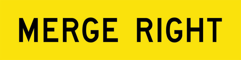 A yellow and black Merge Right Sign