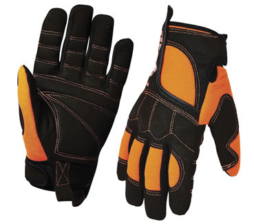 A pair of orange and black PRO Vibe Gloves