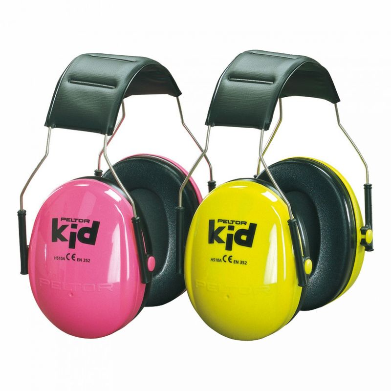 Two pairs of Peltor ear muffs for Kids in pink and yellow