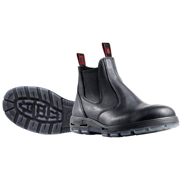 Redback Black Elastic Side Work Boot