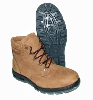 A pair of brown lace up Redback work boots