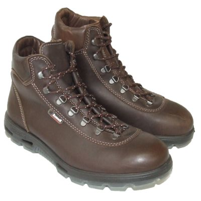 A pair of brown Redback work boots with laces