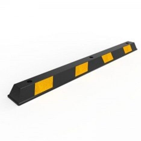 A black and yellow Rubber Wheel Stop