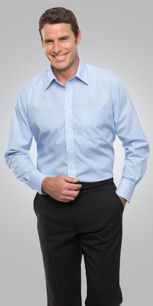 A man wearing a light blue Shadow Stripe Mens LS shirt