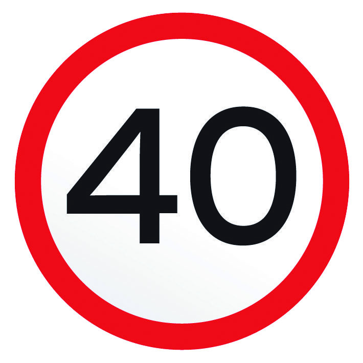 A 40 km/h speed advisory sign