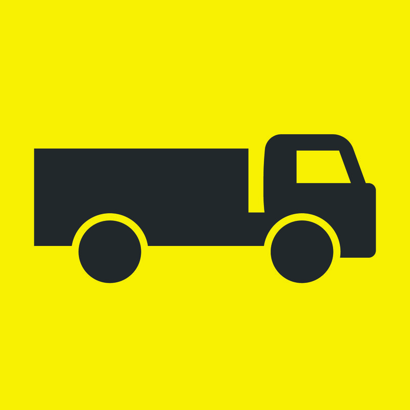 Black and Yellow Truck Symbol Sign