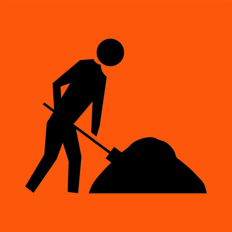 An orange Worker Symbol Sign