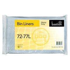 Bastion 72-77L Heavy Duty Bin Liners, Black, Carton/250