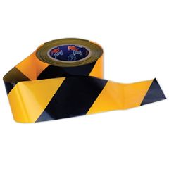 A roll of Barricade Tape Yellow Black