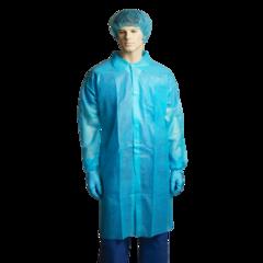 Bastion Polypropylene Labcoat, No Pocket, Blue, Carton/100