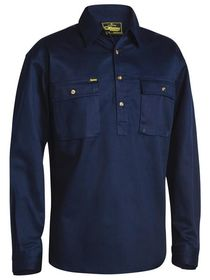 Bisley Closed Front Cotton Drill L/S Shirt