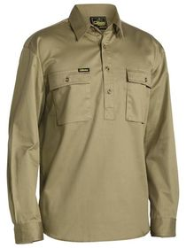 Bisley Closed Front Cotton Drill LS Shirt