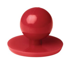 Close up of a red Chef+39s Button