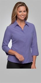 A woman wearing a pueple Ezylin Ladies 3/4 Sleeve shirt