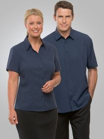 A womand and a man wearing Ezylin shirts
