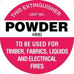 Fire Extinguisher Powder AB(E) Sign