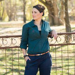 Green Hip Ladies Essential Long Sleeve Shirt