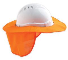 A white Hard Hat with an orange Sun Brim
