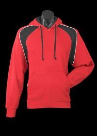 A red Huxley Hoodie with blue