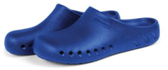 A pair of blue JBand39s Clogs