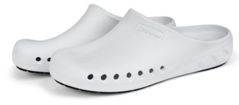 A pair of white JBand39s Clogs