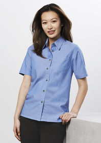 Ladies Chambray Short Sleeve Shirt