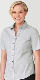 Ladies Short Sleeve Pinfeather Shirt