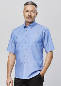 Mens Chambray Short Sleeve Shirt