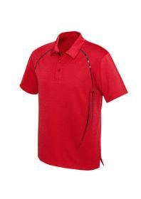 The front of a red Mens Cyber Polo shirt