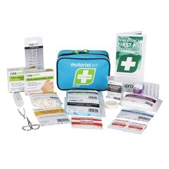 A motorist first aid kit with the contents displayed