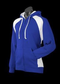 A blue Panorama Zip Hoodle with white