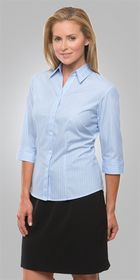 Woman wearing a light blue Shadow Stripe Ladies 3/4 Sleeve