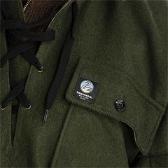 Close up of the logo on the pocket of a Swanndri Bushshirt